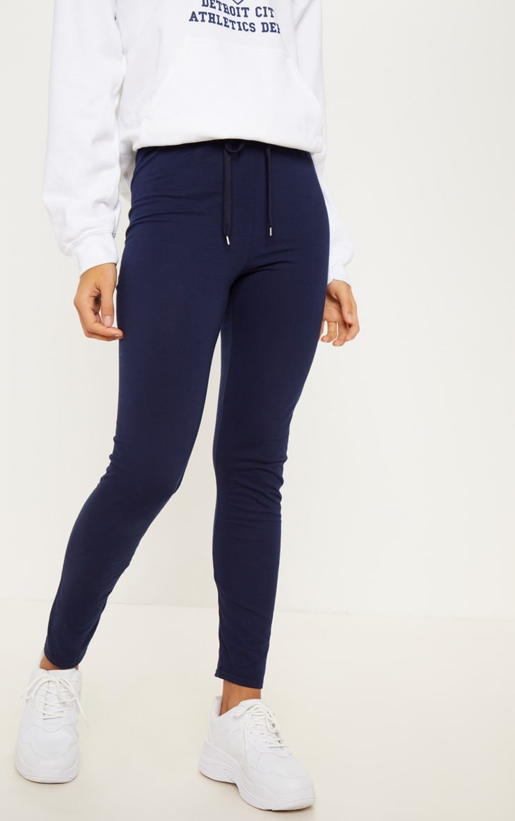 Navy Drawstring Cotton Legging 2