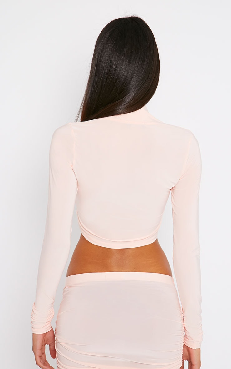 Saylor Pink Slinky Turtle Neck Crop Top 2