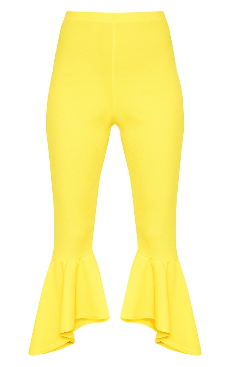 Yellow Asymmetric Flare Hem Trousers 3