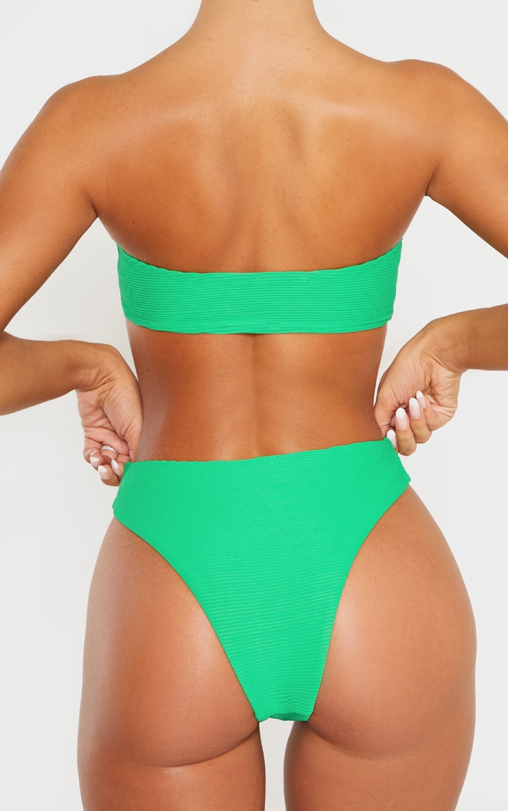 Green Ribbed V Front Bikini Bottom 3