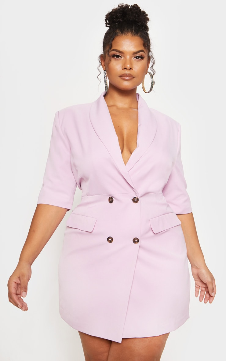 Pale Pink 3/4 Sleeve Blazer Dress
