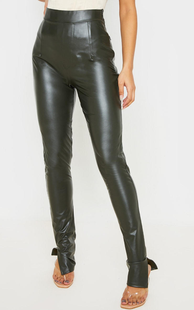 Khaki Faux Leather Split Hem Skinny Pants 2