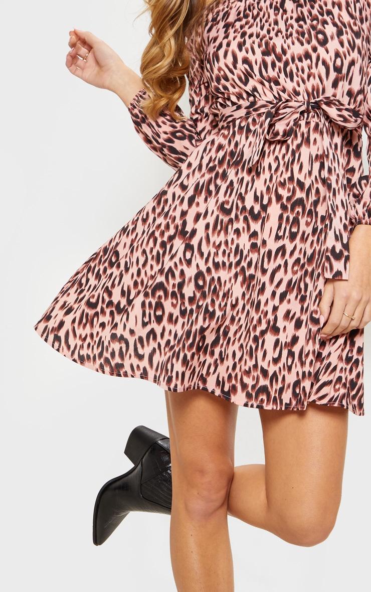 Pink Leopard Print Satin Tie Bardot Dress 5