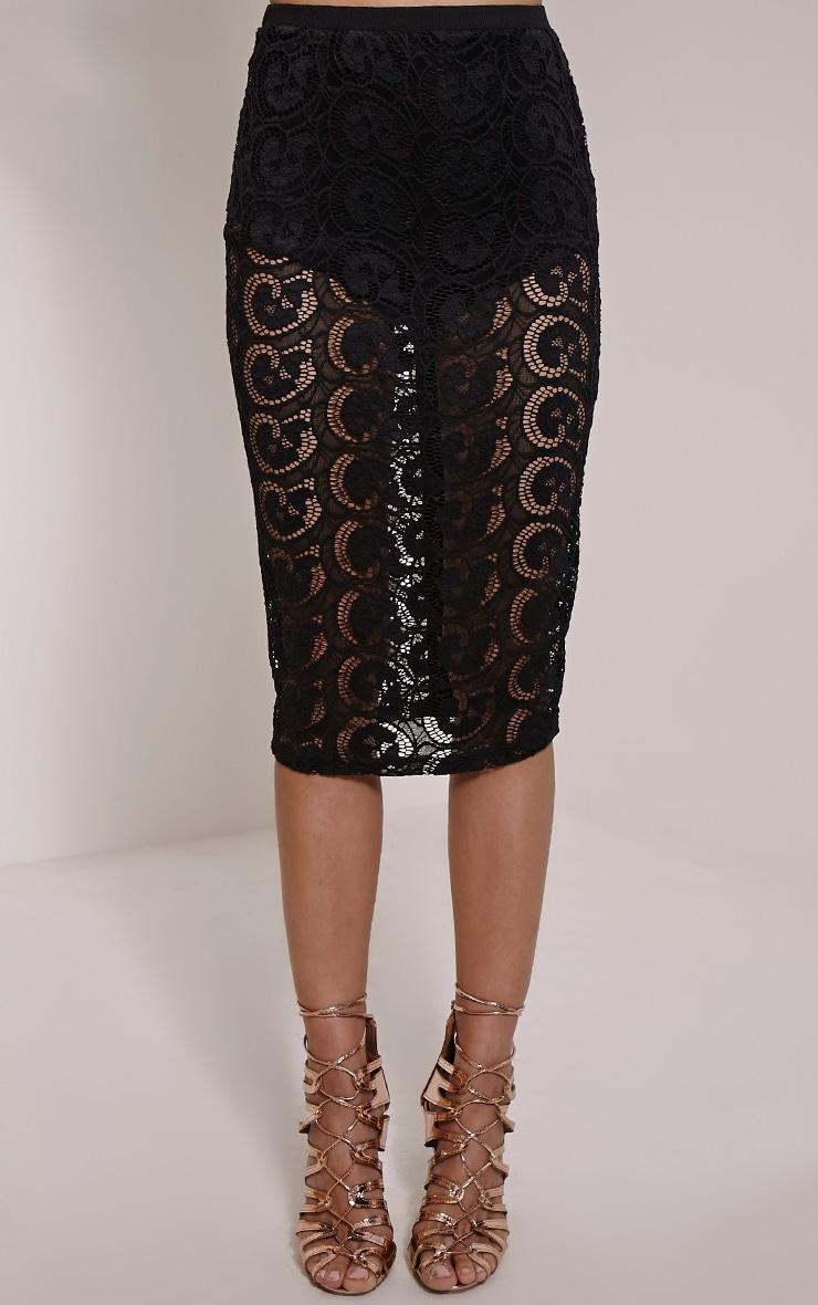 Bethzy Black Lace Button Down Back Midi Skirt 2