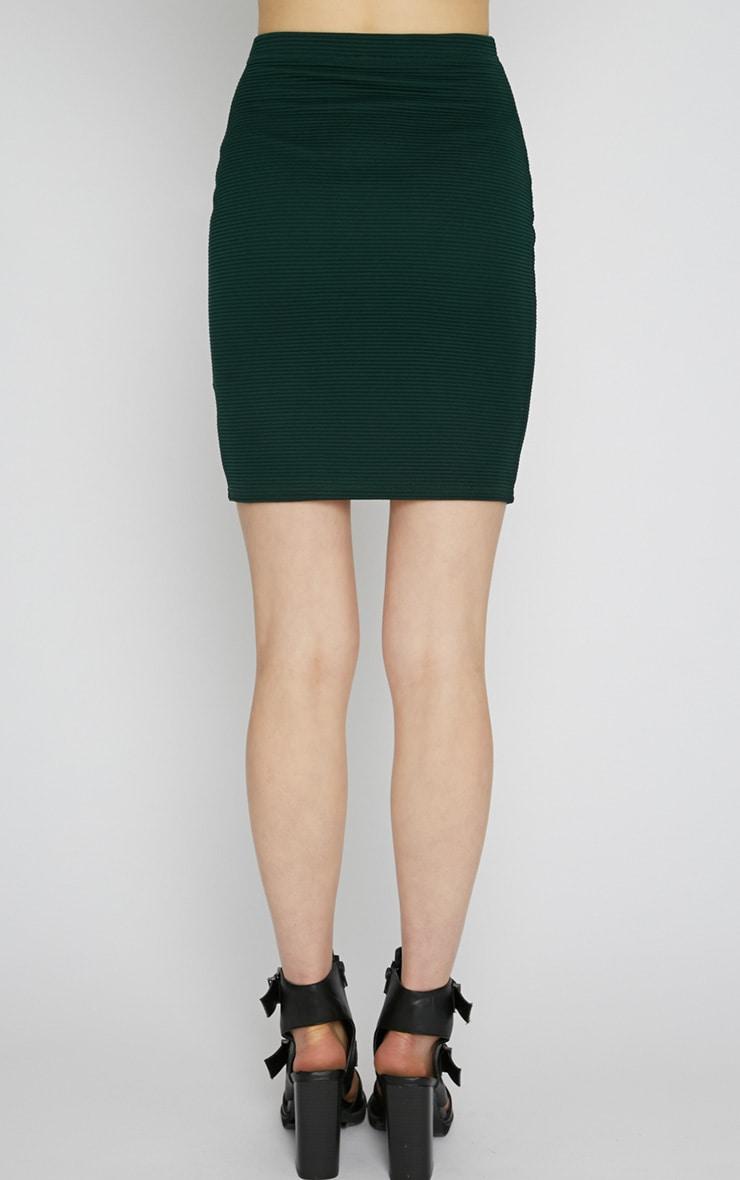 Christy Green Ribbed Mini Skirt  2