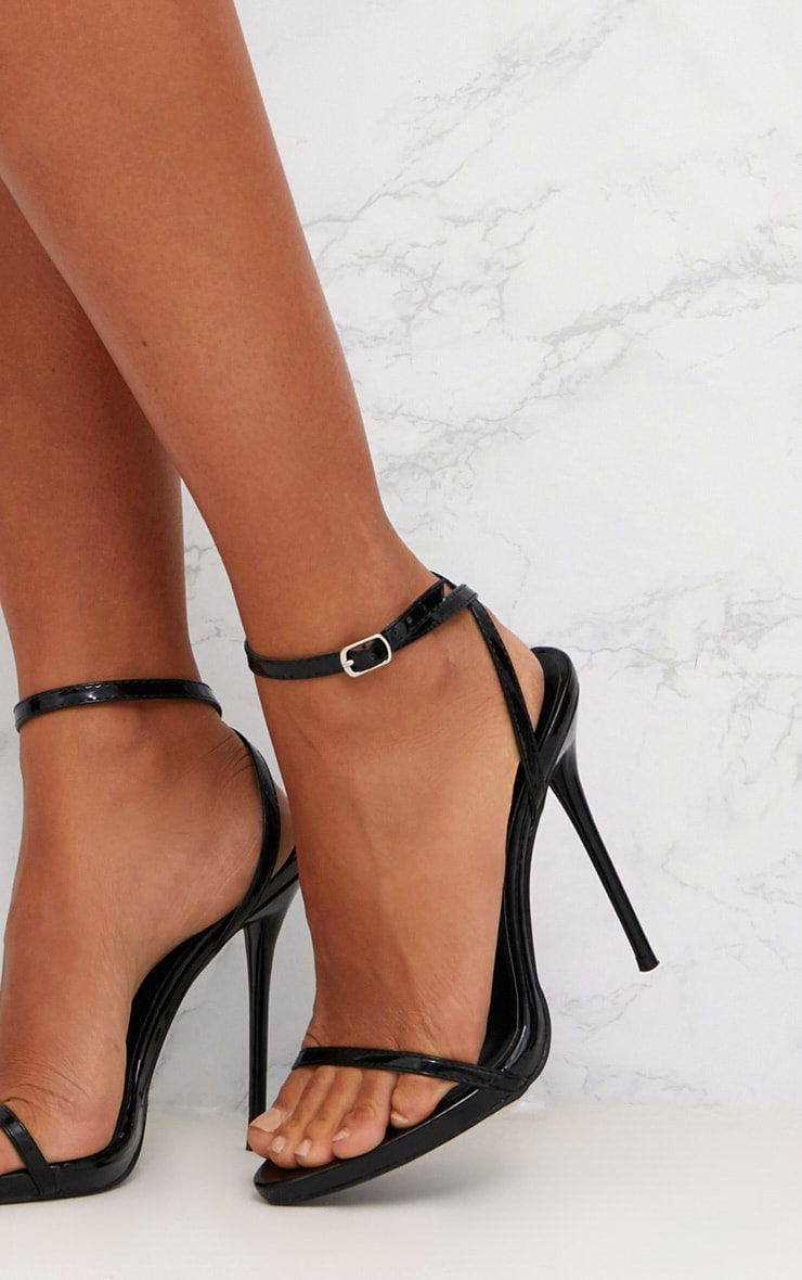 Black Patent PU Single Strap Stiletto Sandals  5
