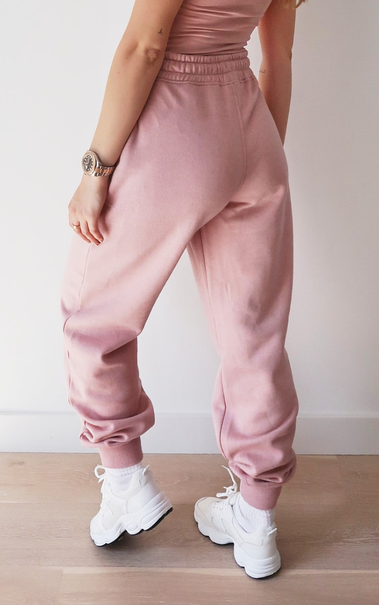PRETTYLITTLETHING Lilac Embroidered Slogan Joggers 3
