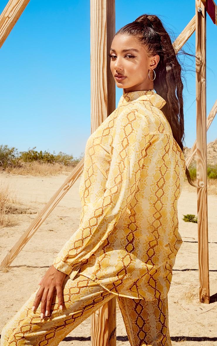 Yellow Snake Print Beach Shirt 2