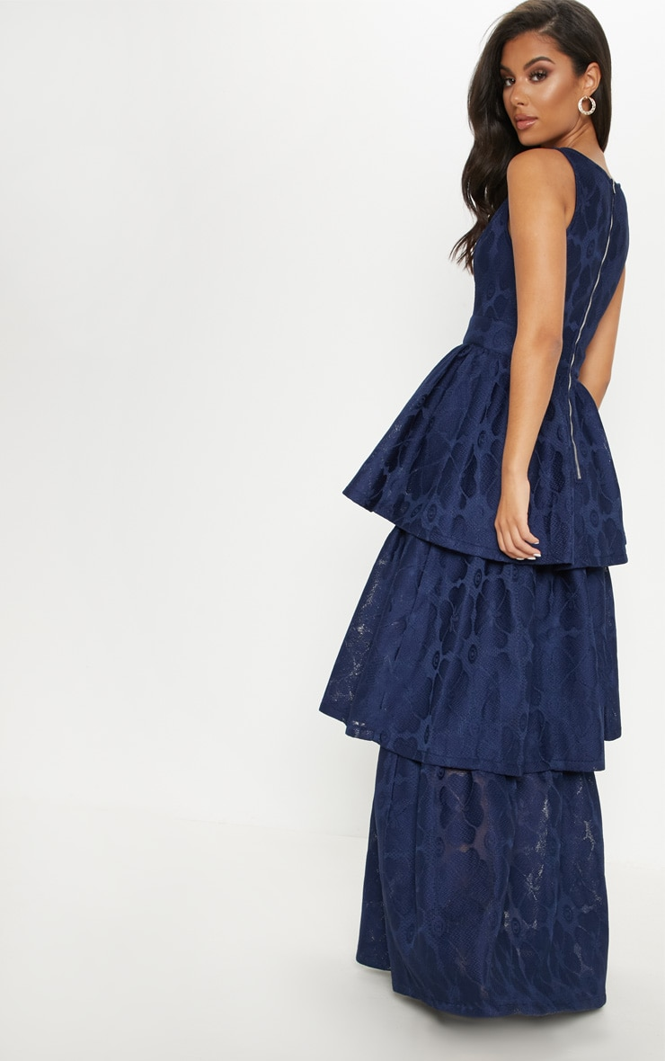 Navy Bonded Lace Tiered Maxi Dress 2