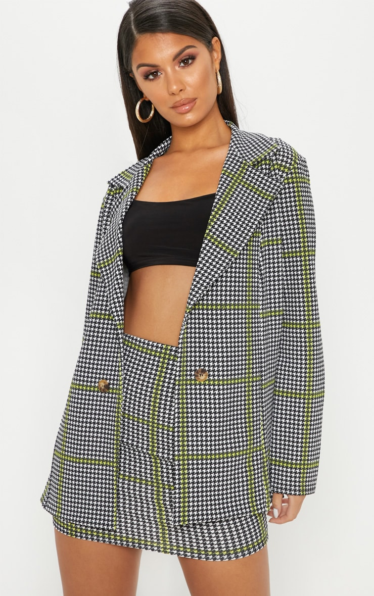 Black Dogtooth Oversized Blazer  1