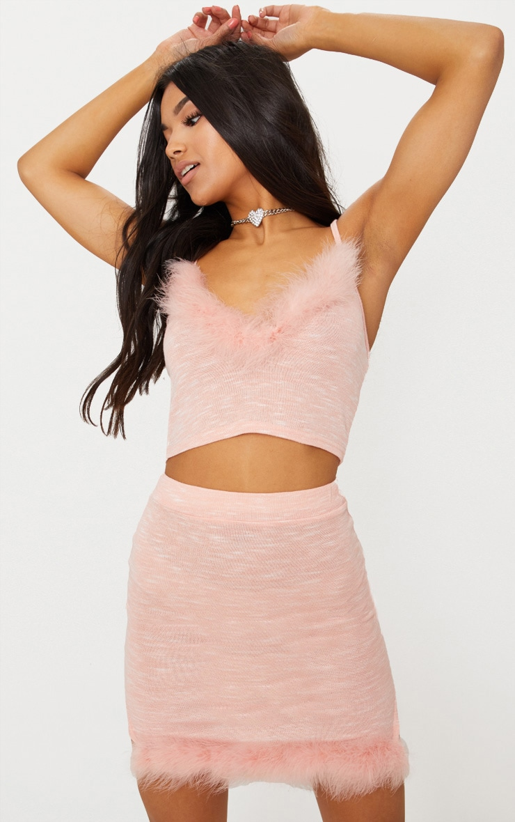 Pink Feather Trim Knit Skirt