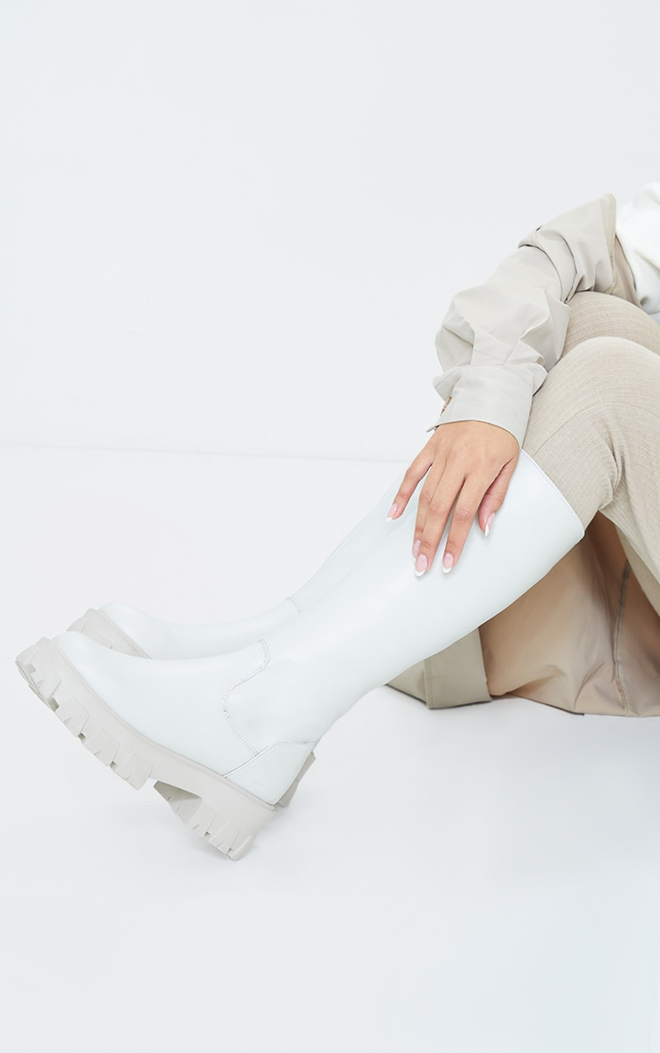 Cream PU Cleated Sole Chunky Wellies 2