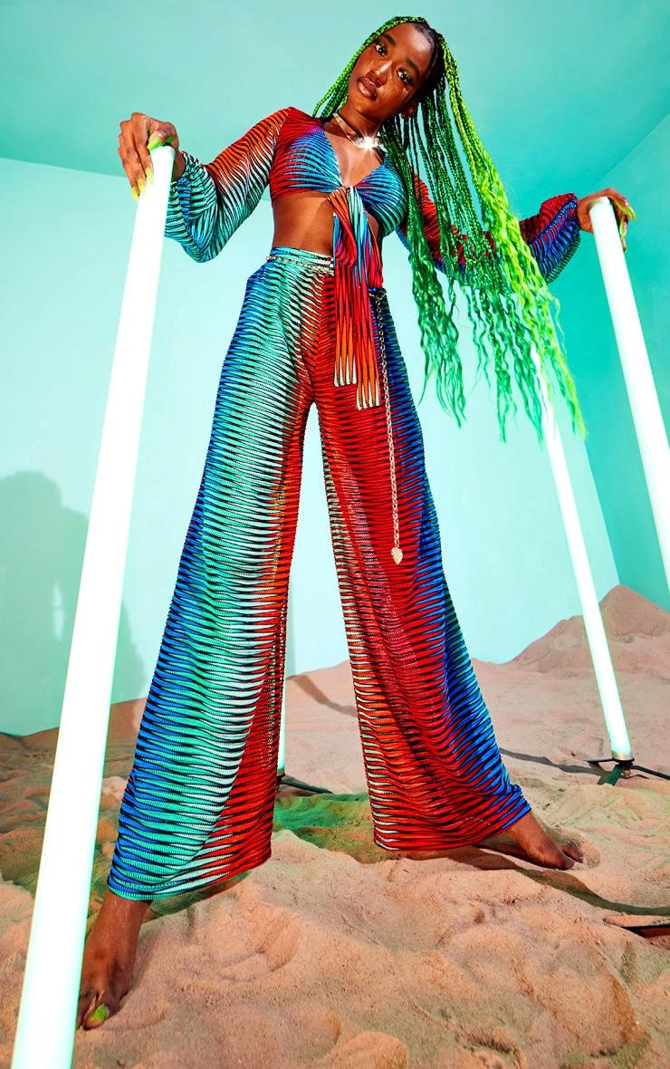 Pantalon de plage évasé multicolore à découpes laser et rayures 3