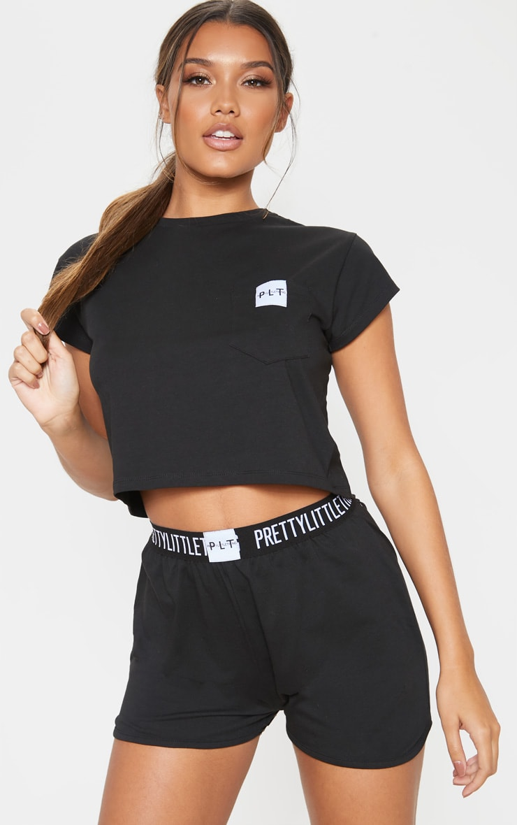 PRETTYLITTLETHING Black T-Shirt And Boxer Short PJ Set 1