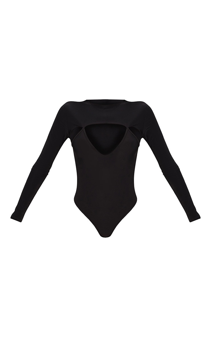 Black Slinky Cut Out Long Sleeve Thong Bodysuit  3