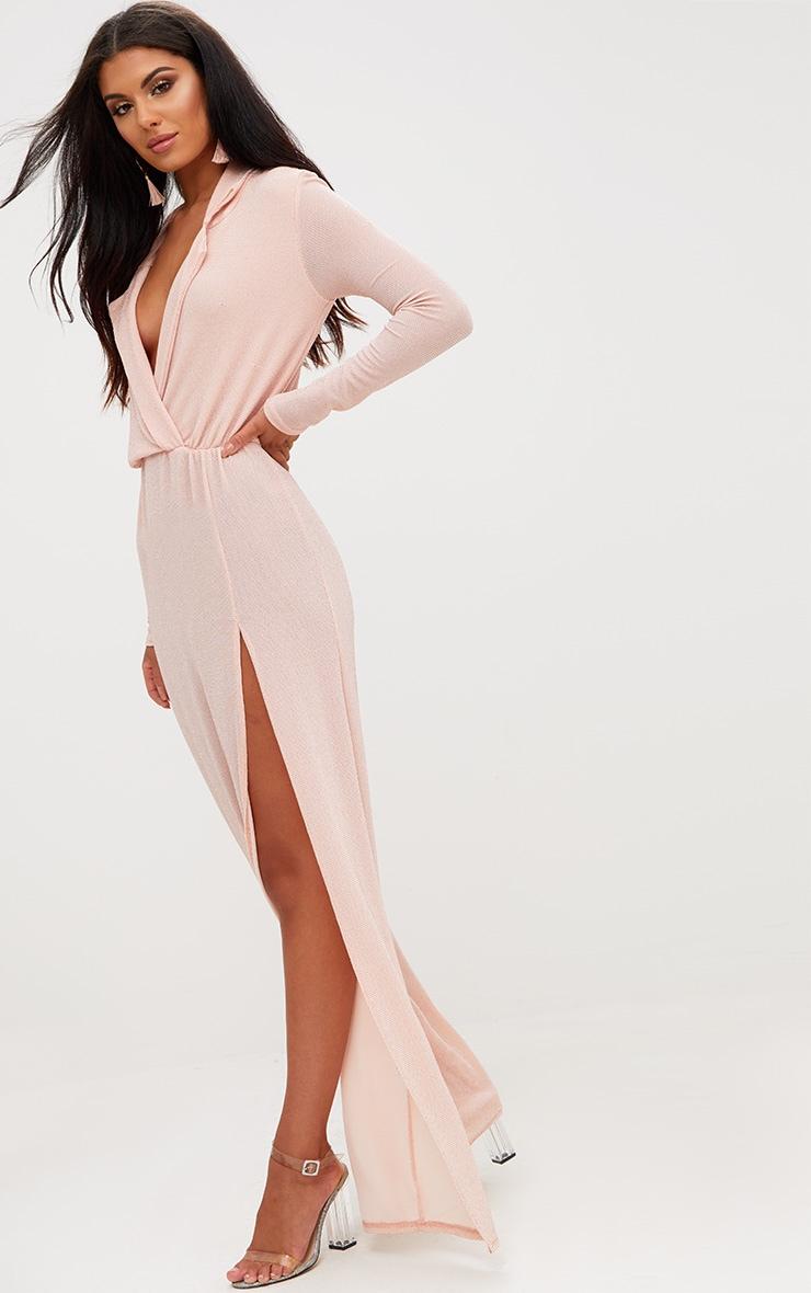 Nude Lurex Plunge Long Sleeved Maxi Dress 4