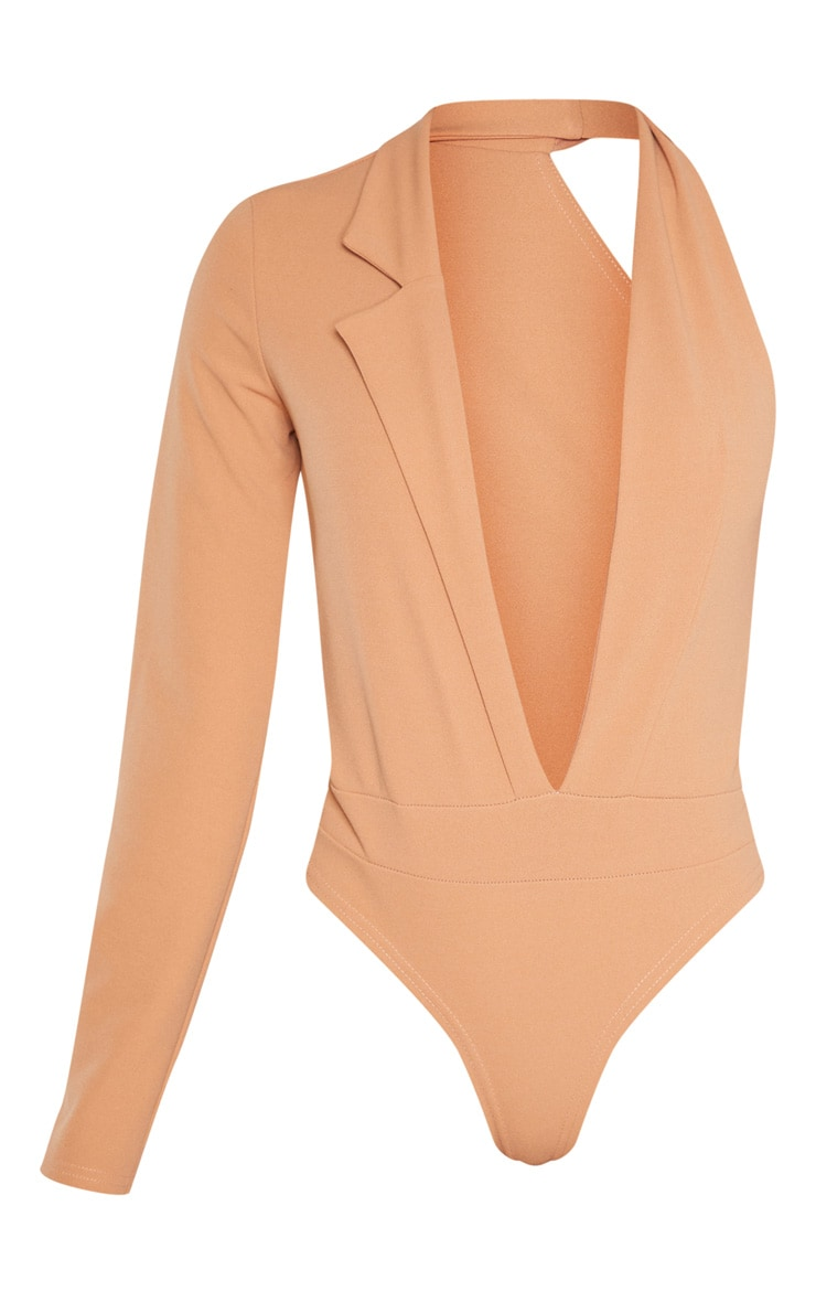 Camel Cut Out One Shoulder Blazer Bodysuit 3
