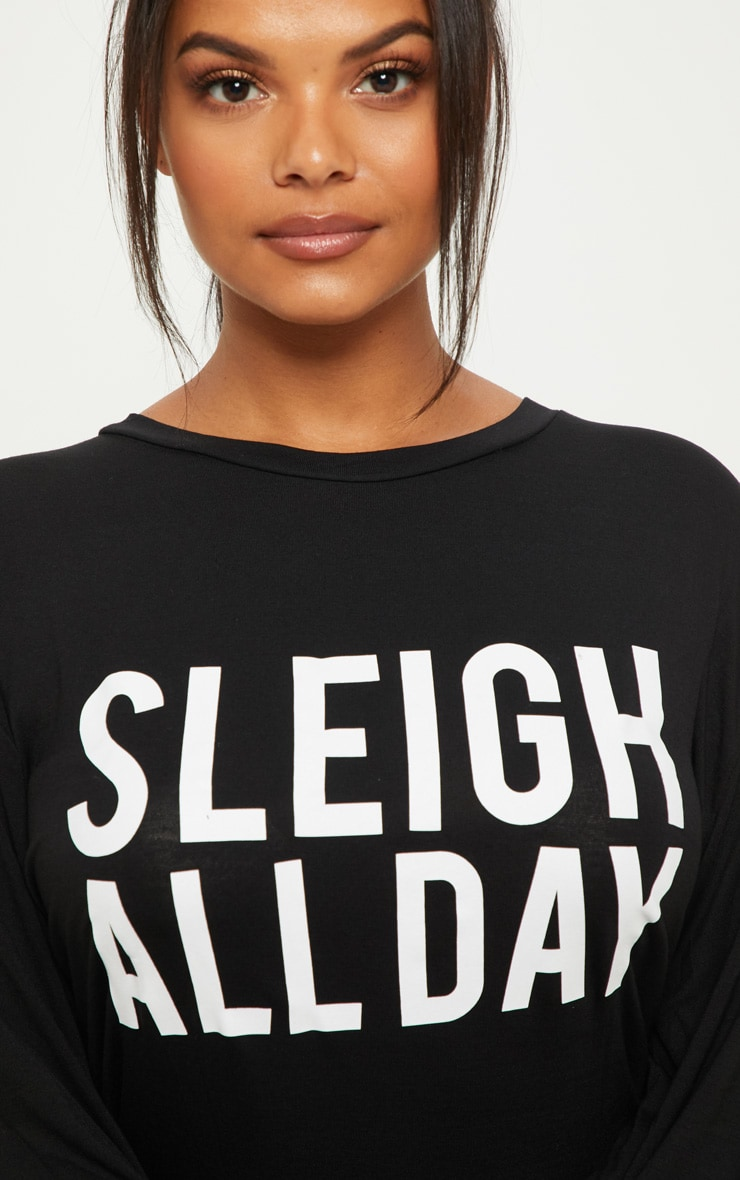 Plus Black 'Sleigh All Day' T Shirt Nightie 5