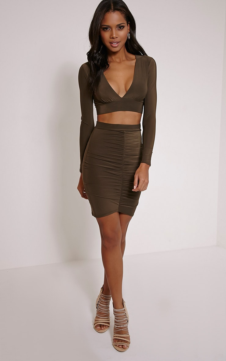 Darcia Khaki Ruched Front Midi Skirt 5