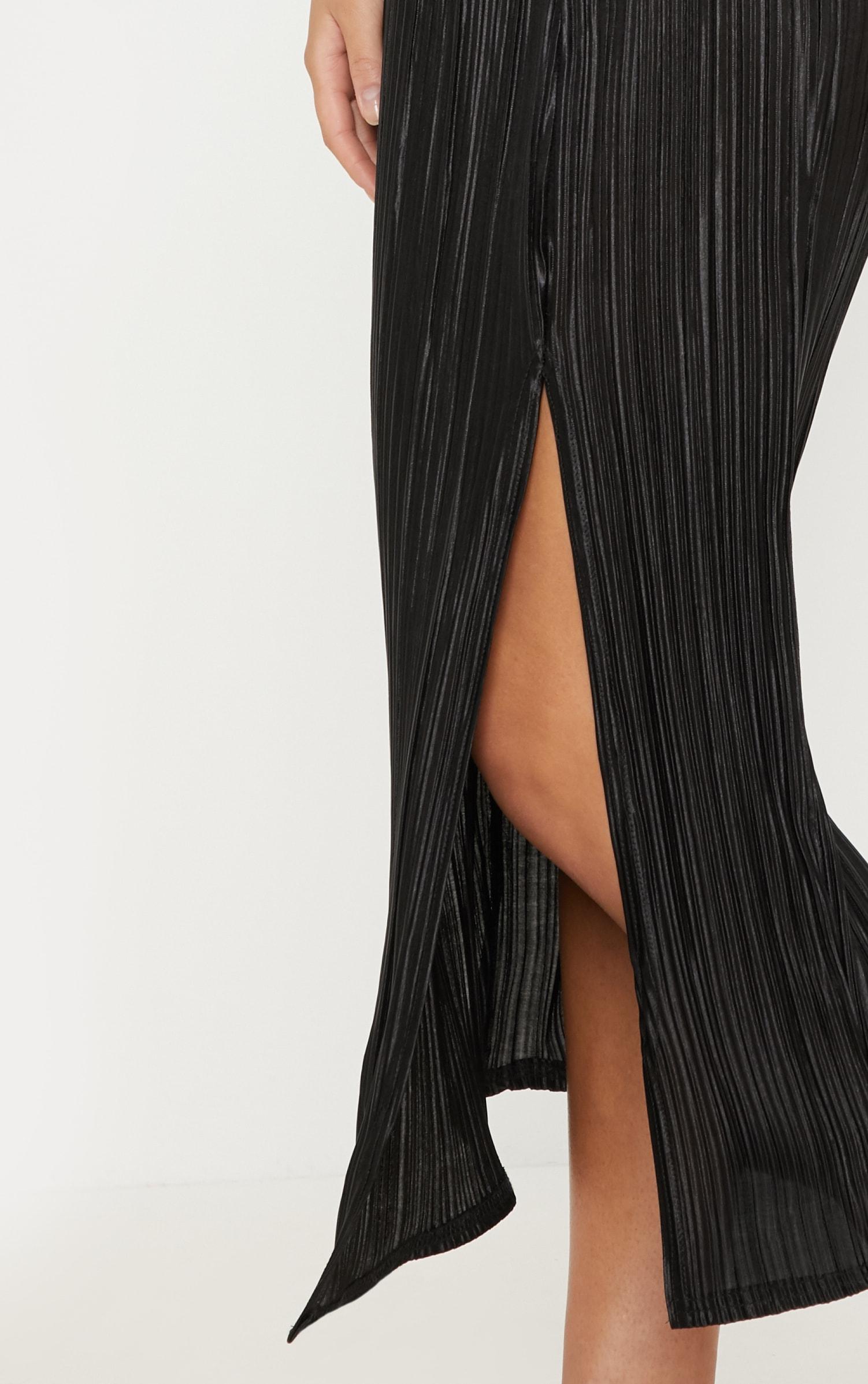 Black Plisse Slash Neck Split Detail Midi Dress 5