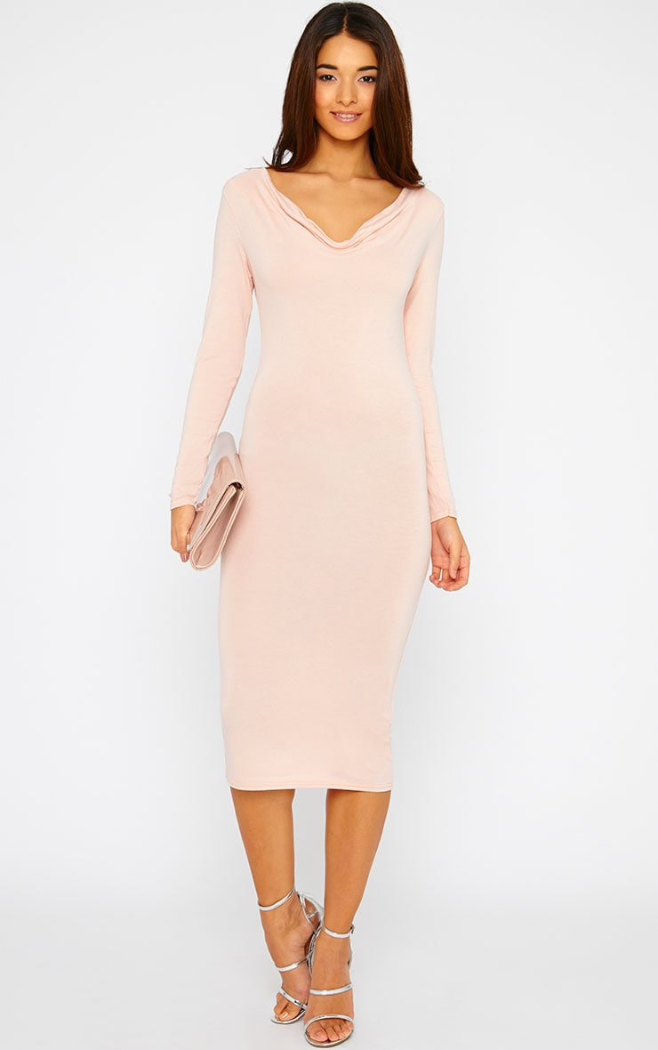 Lise Nude Jersey Cowl Neck Midi Dress  1