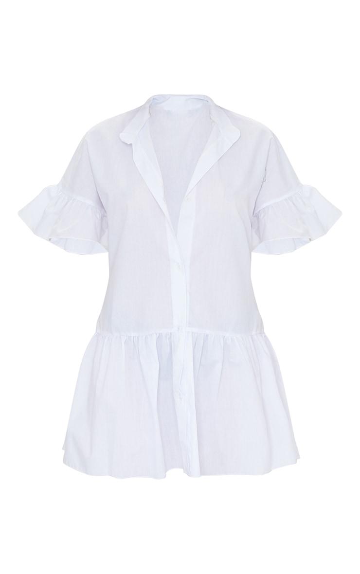 Petite White Drop Hem Short Sleeve Shirt Dress 5