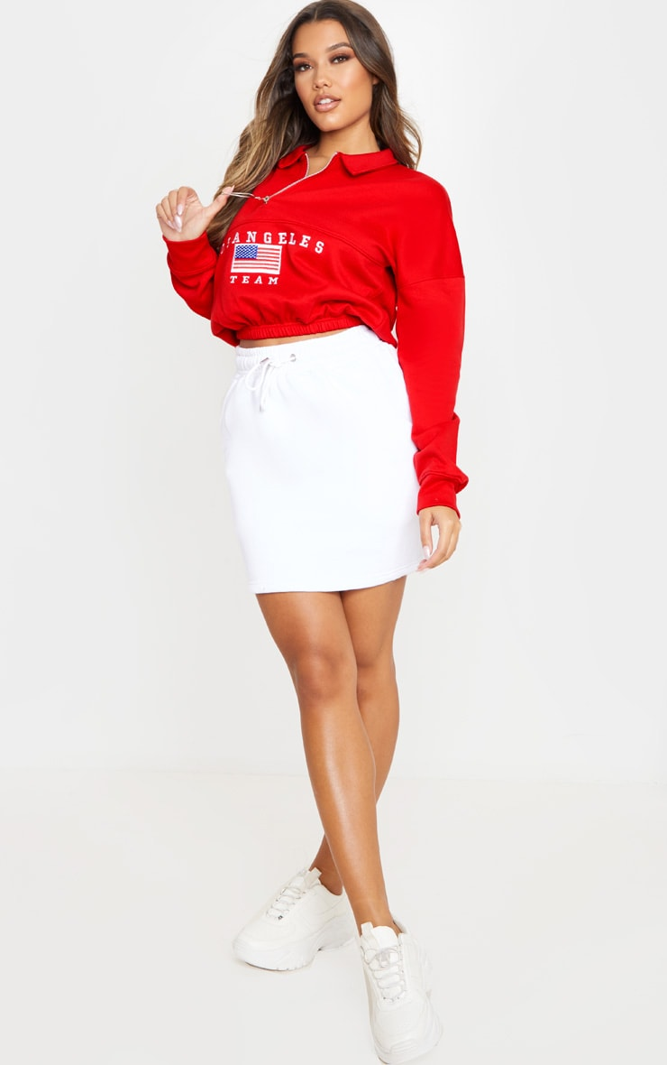 Red Log Angeles Embroidered USA Zip Sweater 4
