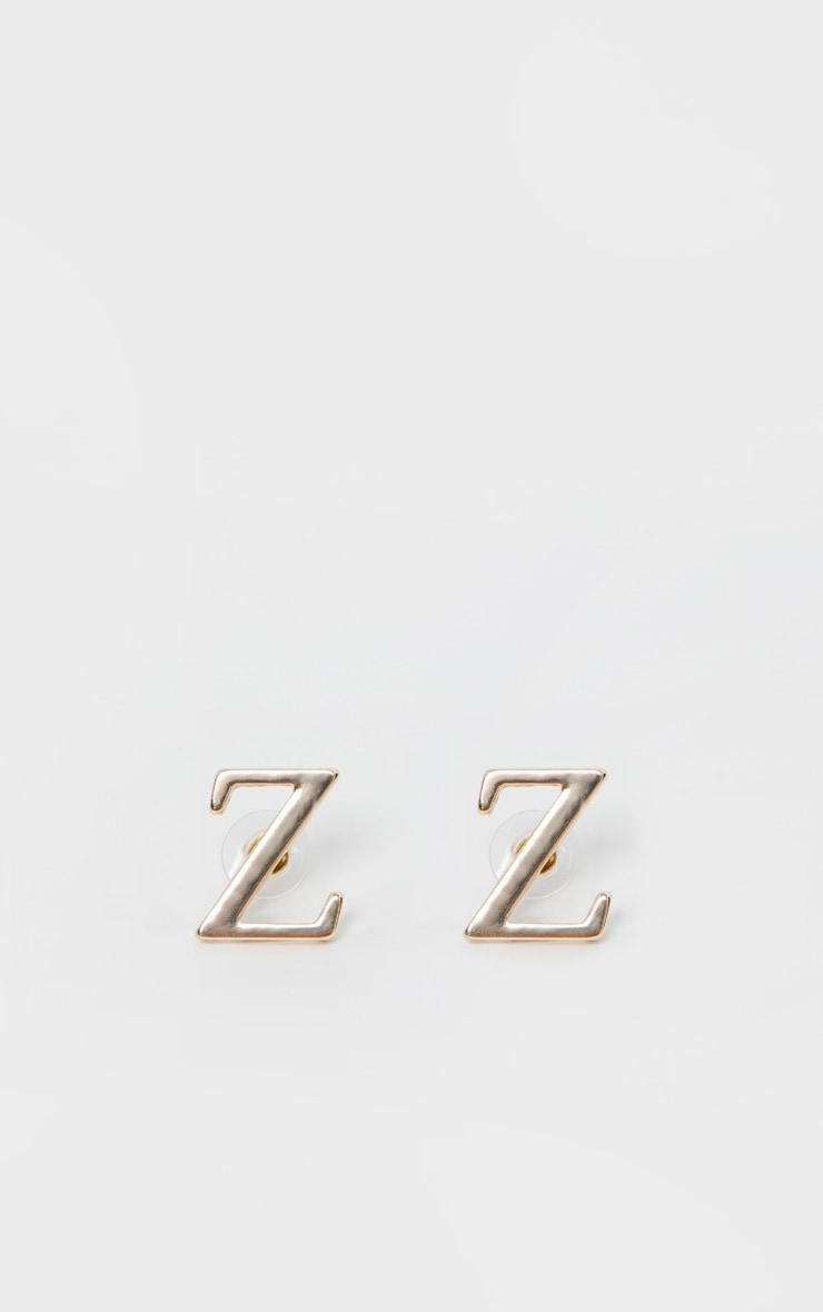 Boucles d'oreilles dorées à clou lettre Z 2