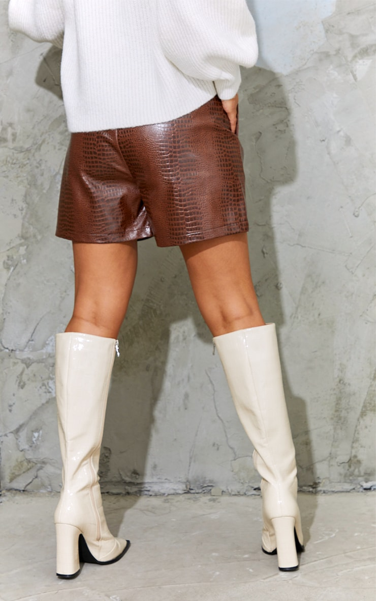 Chocolate Faux Leather Croc Effect Shorts 3