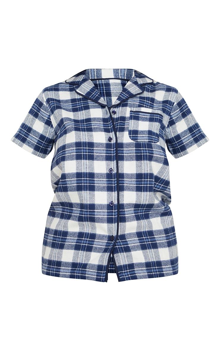 Blue Mix And Match Button Up Short Sleeve Check PJ Shirt 5