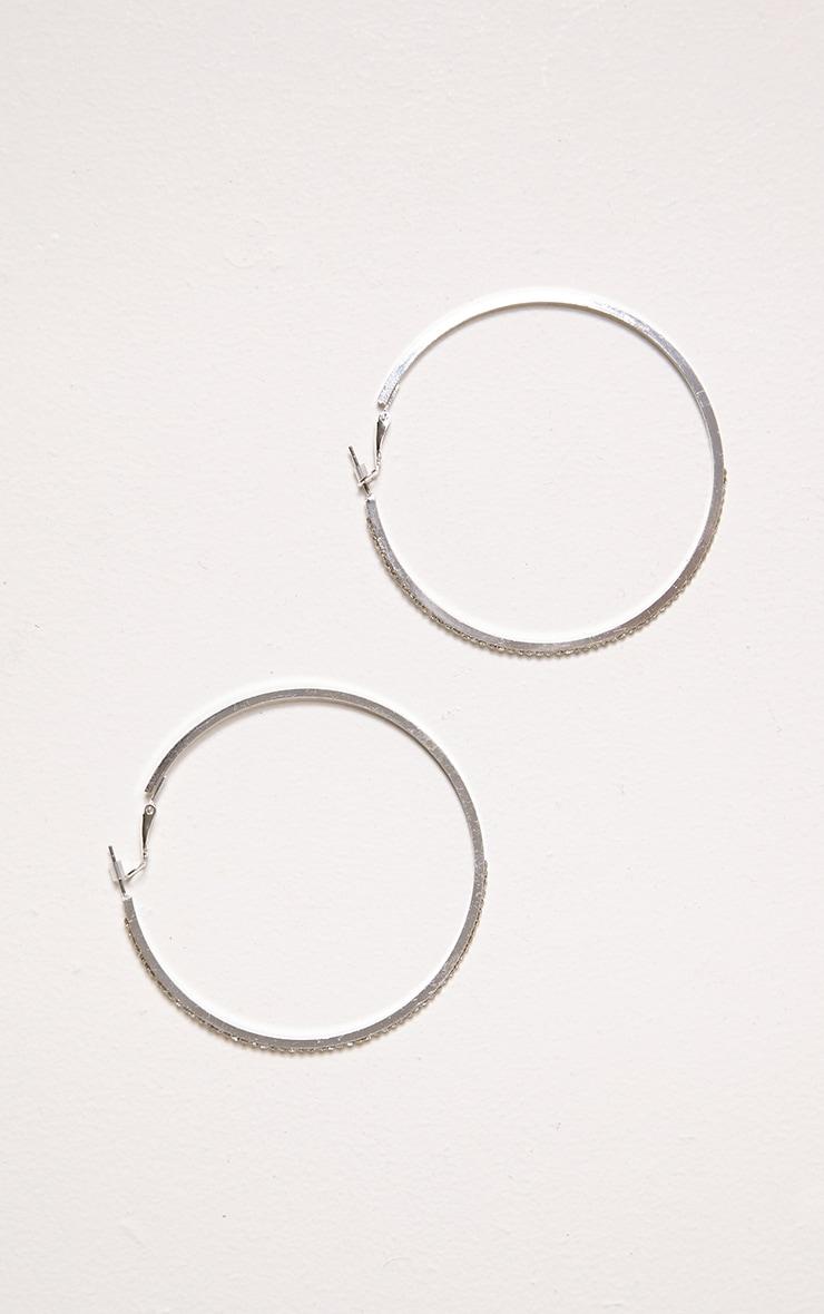 Dora Silver Diamante Hoop Earings 2