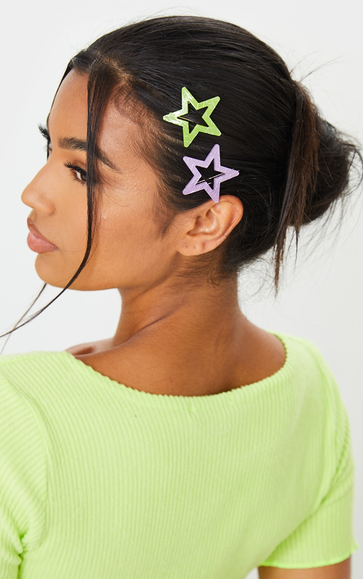 Lilac And Green Resin Star 2 Pack Hair Slides 1