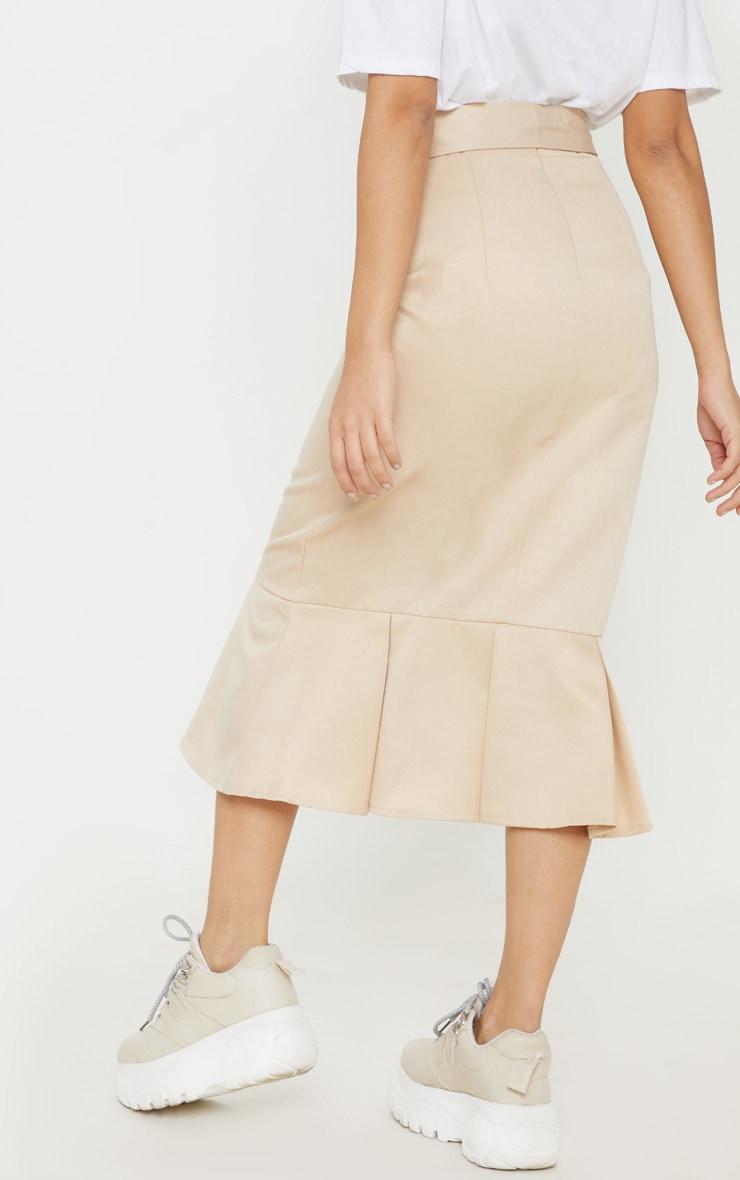 Petite Stone Woven Frill Detail Midi Skirt  4