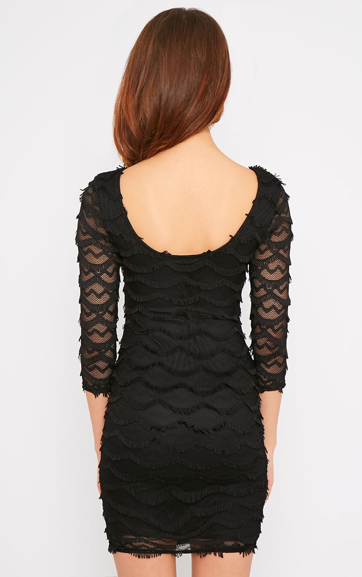 Valentina Black Eyelash Sleeve Dress 2