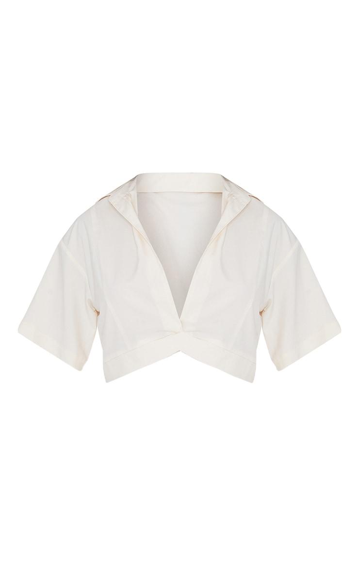 Beige Woven Plunge Pocket Detail Crop Shirt 5