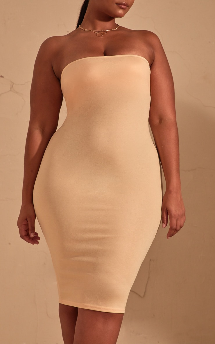 Plus Cream Bandeau Midi Dress 5