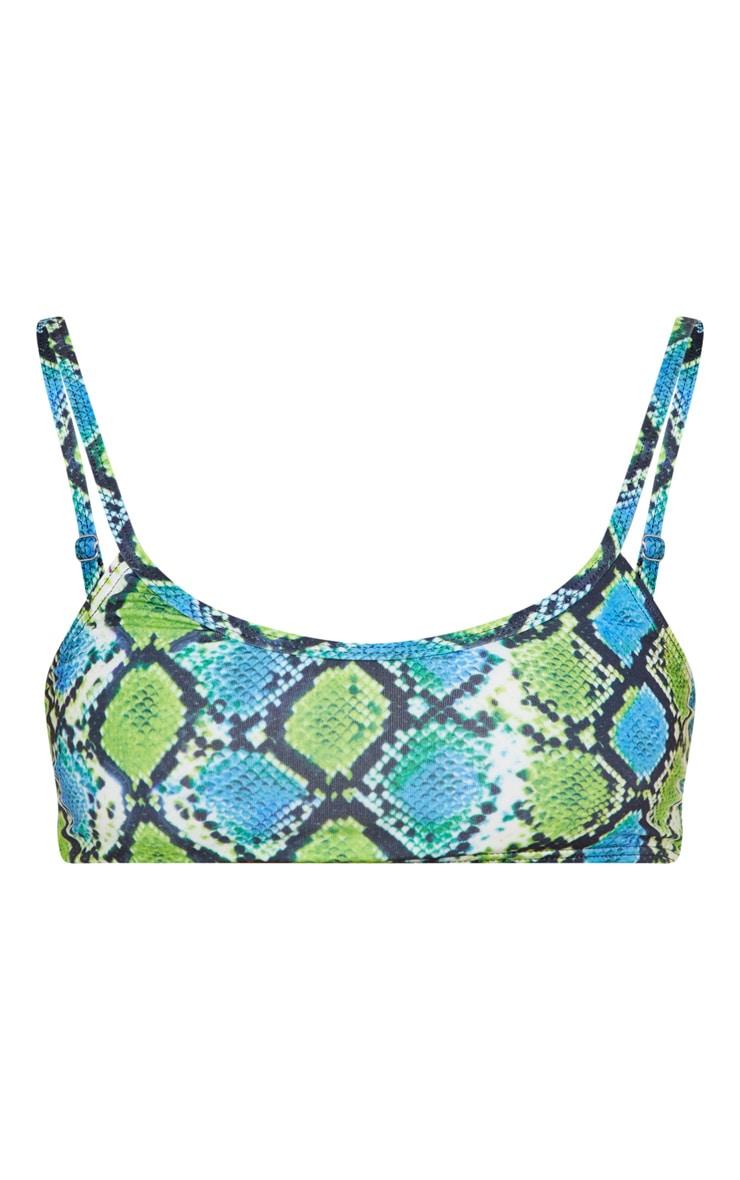 Green Snake Print Low Scoop Bikini Top 3