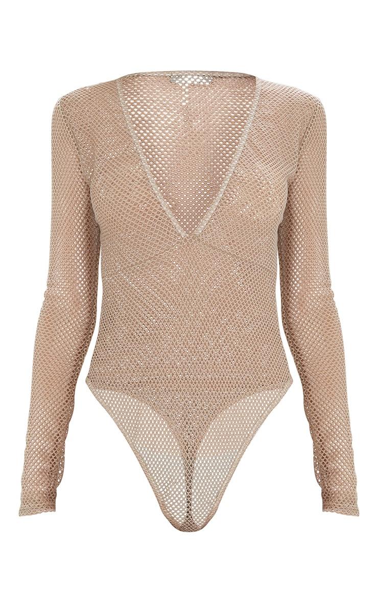 Camel Fishnet Plunge Longsleeve Thong Bodysuit  3