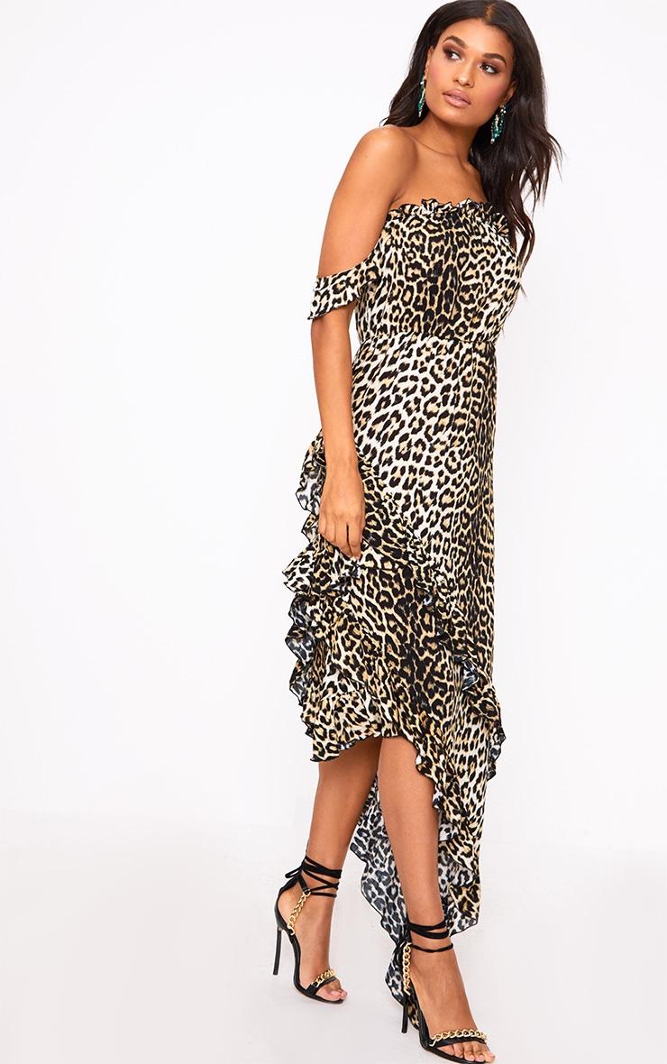 Leopard Print Frill Bardot Maxi Dress 5