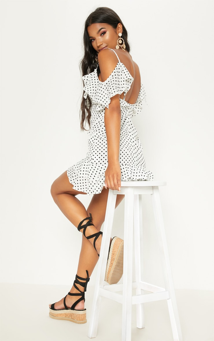 White Polka Dot Frill Cold Shoulder Bodycon Dress 2