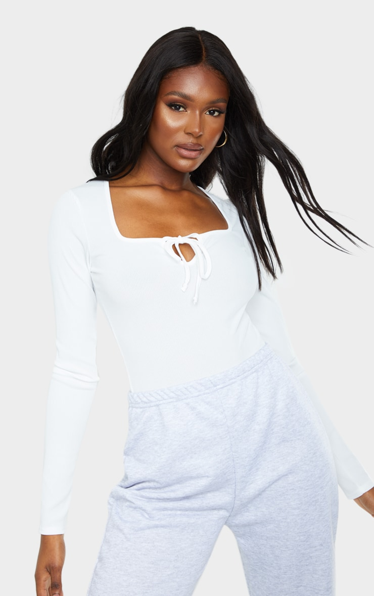 Tall White Ribbed Milkmaid Long Sleeve Bodysuit 1