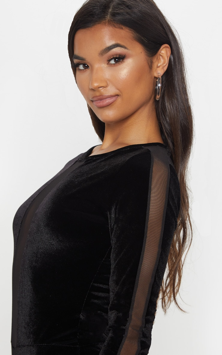 Black Velvet Long Sleeve Mesh Bodysuit 6