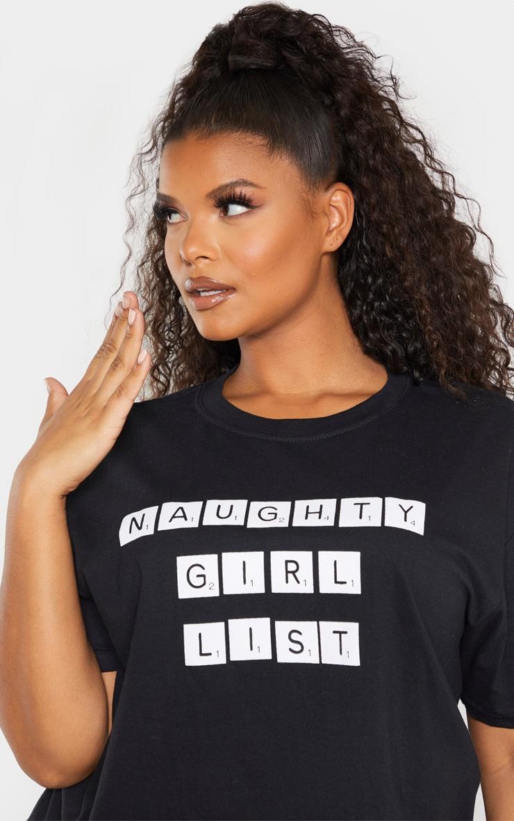 Plus Black Naughty Girl List Slogan Crop T-Shirt 5