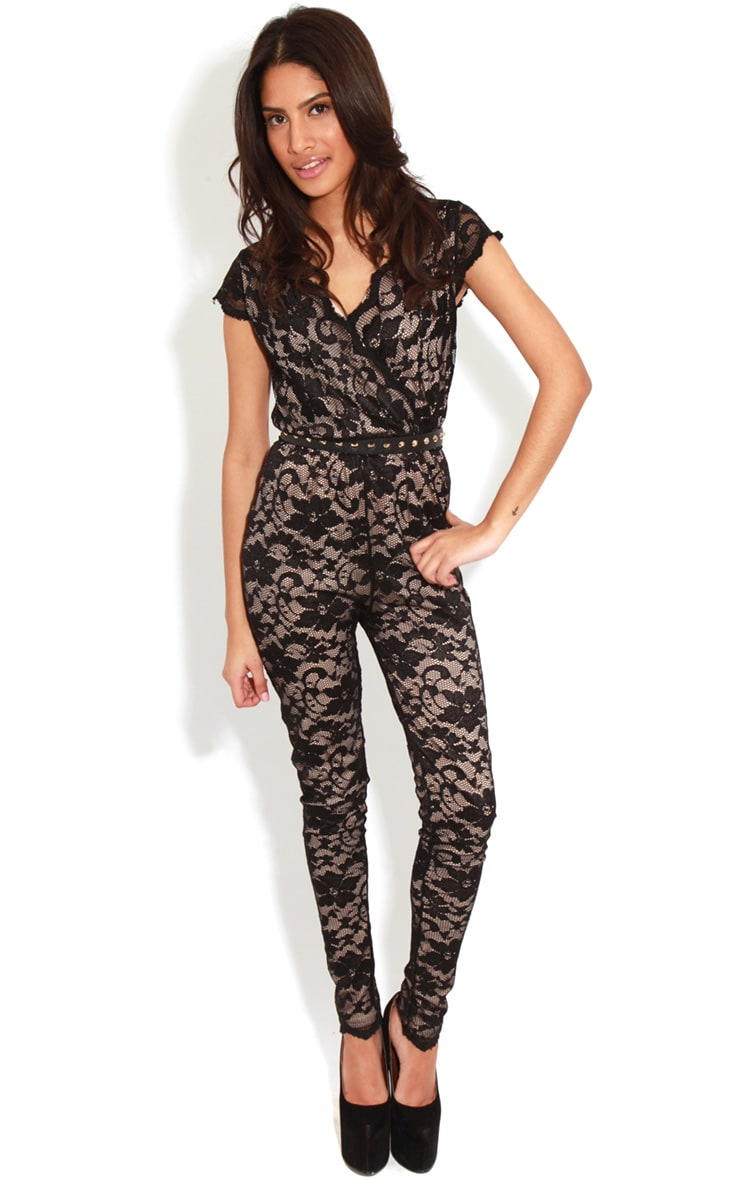 Olivia Nude & Black Lace Crossover Jumpsuit 1