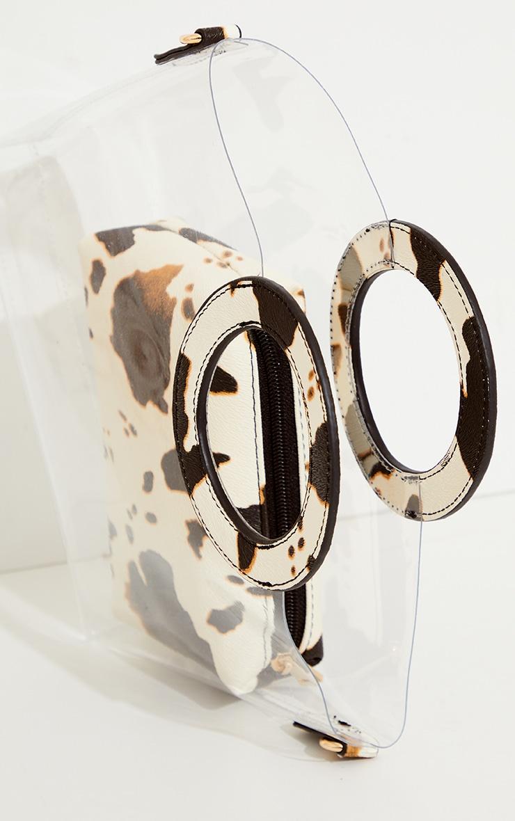 Black Cow Print Clear Pu Grab Bag 4