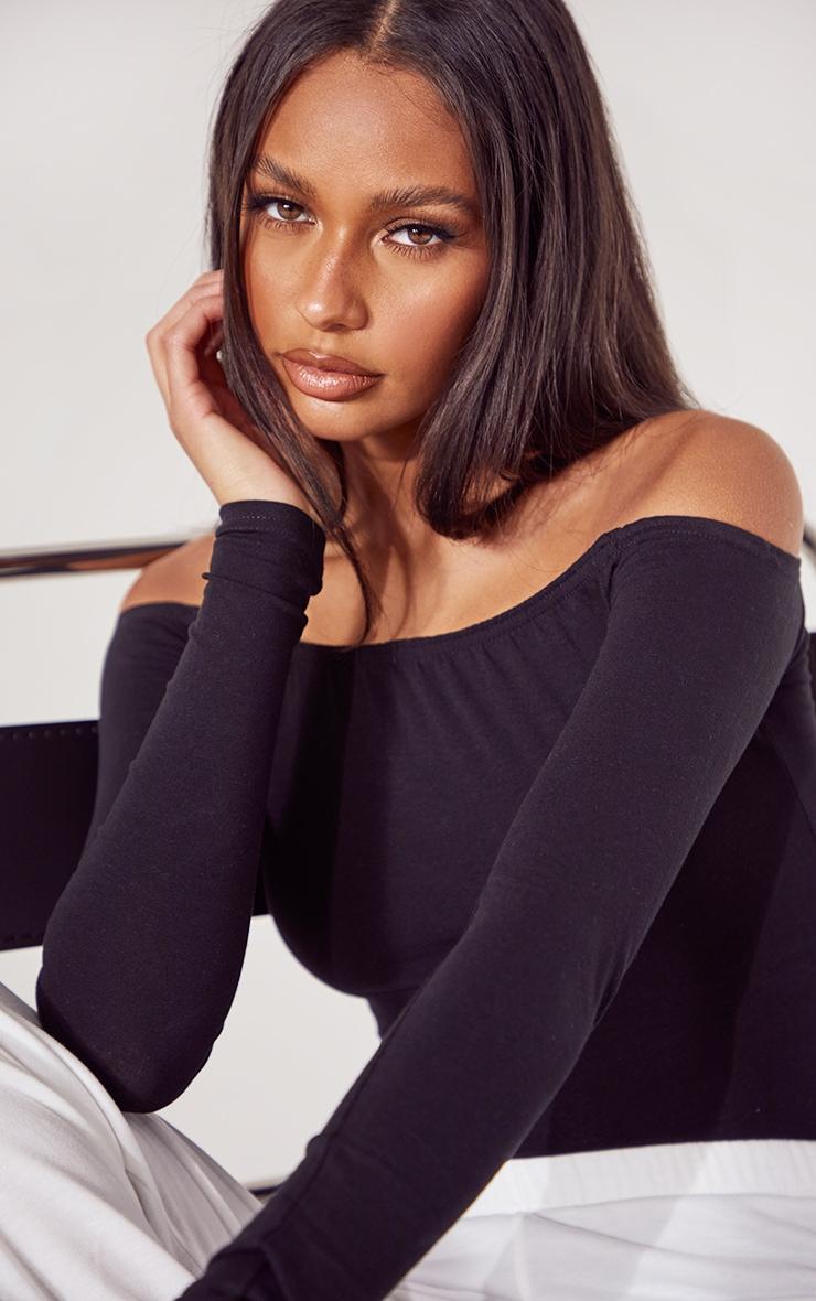 Basic Black & White Cotton Blend Bardot Bodysuit 2 Pack 4