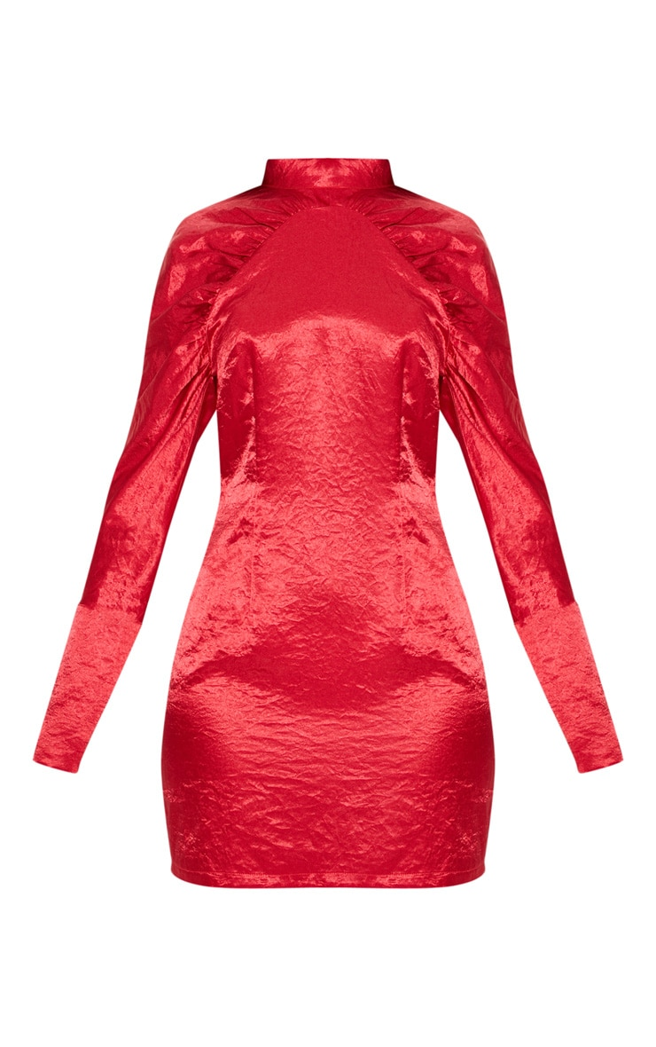 Red Satin High Neck Long Sleeve Ruched Bodycon Dress 3