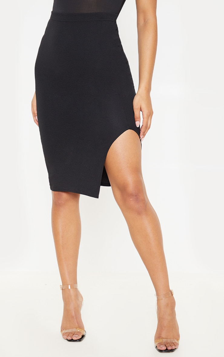 Basic Black Split Midi Skirt  2
