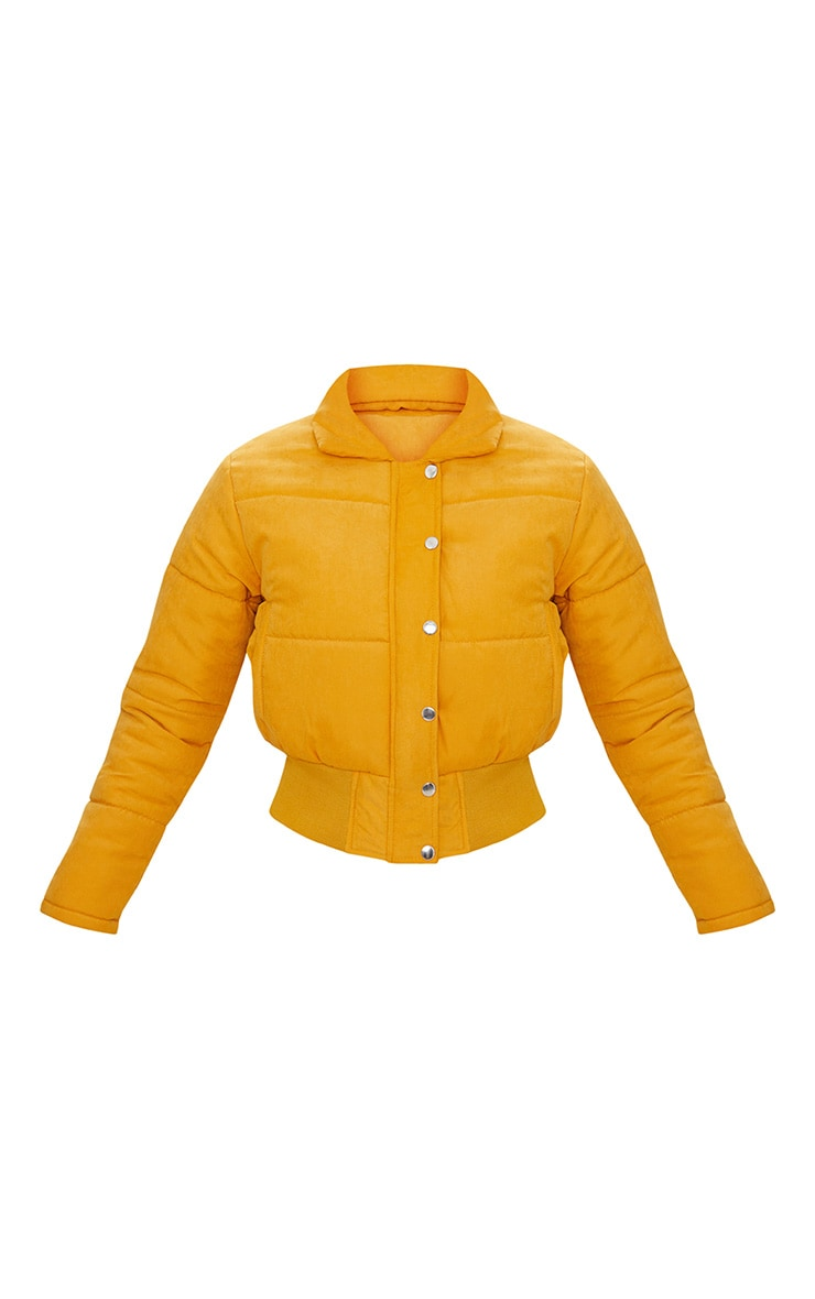 Doudoune courte peau de pêche jaune moutarde 3