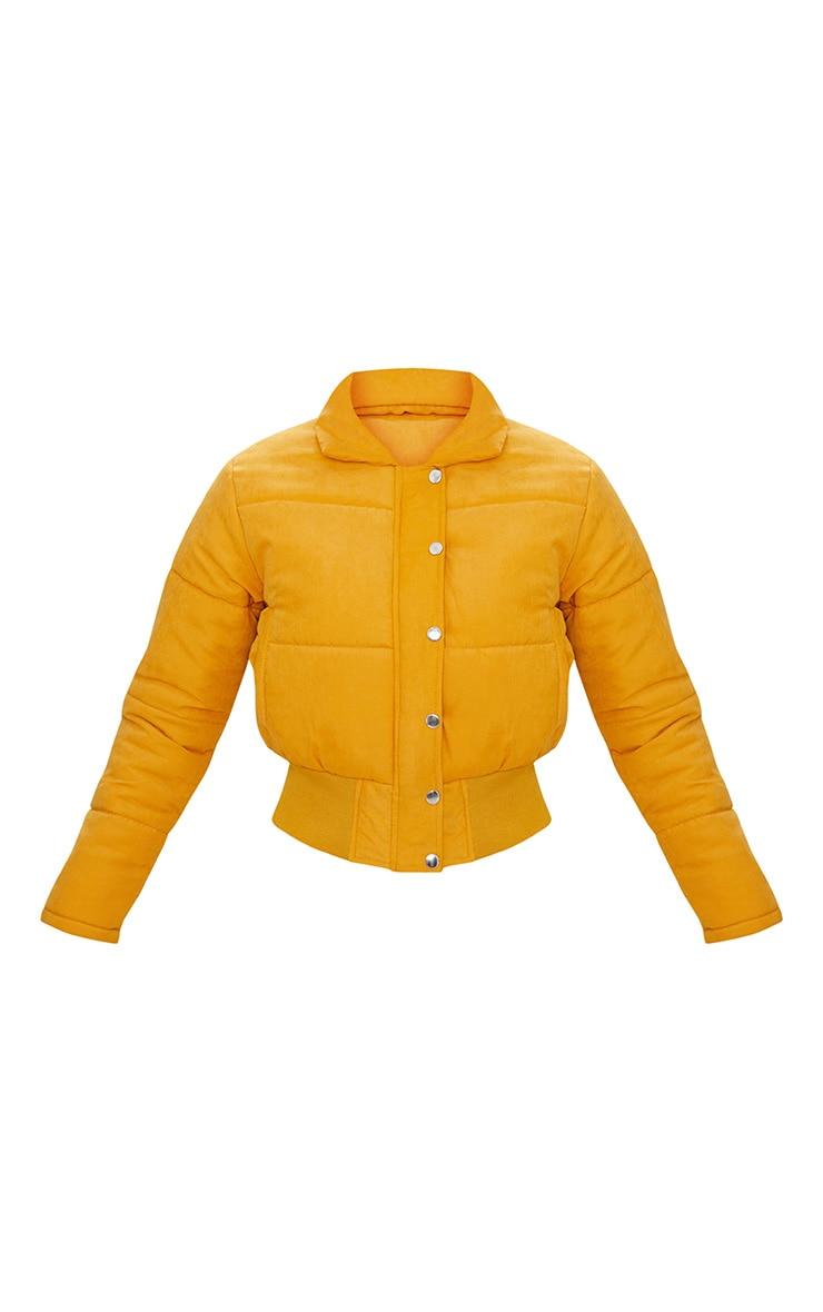 Mustard Peach Skin Cropped Puffer Jacket 3